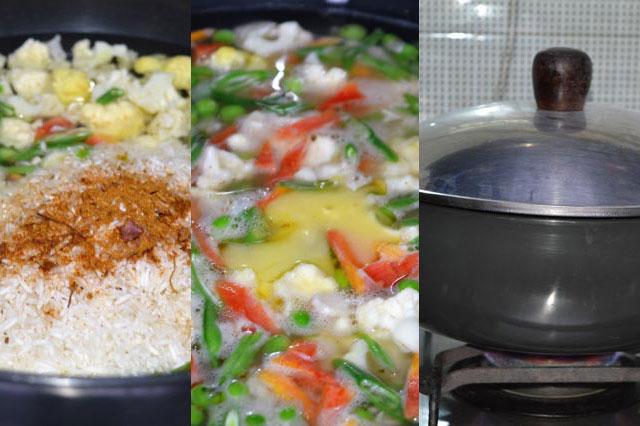 1.-add-veggies,-Rice-&-Biryani-Masala-&-Ghee